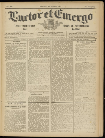 Luctor et Emergo. Antirevolutionair nieuws- en advertentieblad voor Zeeland / Zeeuwsch-Vlaanderen. Orgaan ter verspreiding van de christelijke beginselen in Zeeuwsch-Vlaanderen 1912-01-13