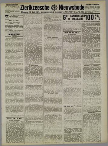 Zierikzeesche Nieuwsbode 1921-07-11