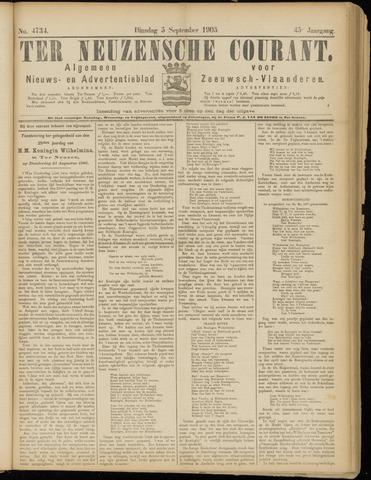 Ter Neuzensche Courant. Algemeen Nieuws- en Advertentieblad voor Zeeuwsch-Vlaanderen / Neuzensche Courant ... (idem) / (Algemeen) nieuws en advertentieblad voor Zeeuwsch-Vlaanderen 1905-09-05