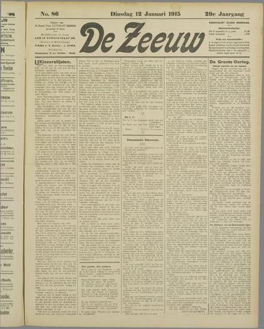 De Zeeuw. Christelijk-historisch nieuwsblad voor Zeeland 1915-01-12