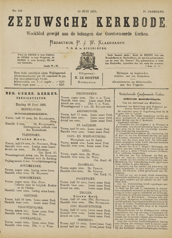 Zeeuwsche kerkbode, weekblad gewijd aan de belangen der gereformeerde kerken/ Zeeuwsch kerkblad 1891-06-13