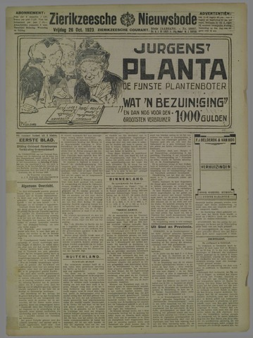 Zierikzeesche Nieuwsbode 1923-10-26