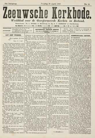 Zeeuwsche kerkbode, weekblad gewijd aan de belangen der gereformeerde kerken/ Zeeuwsch kerkblad 1916-04-28