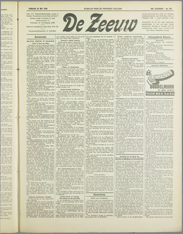 De Zeeuw. Christelijk-historisch nieuwsblad voor Zeeland 1934-05-22