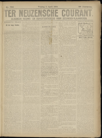 Ter Neuzensche Courant. Algemeen Nieuws- en Advertentieblad voor Zeeuwsch-Vlaanderen / Neuzensche Courant ... (idem) / (Algemeen) nieuws en advertentieblad voor Zeeuwsch-Vlaanderen 1924-04-11