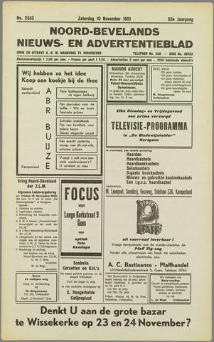 Noord-Bevelands Nieuws- en advertentieblad 1951-11-10