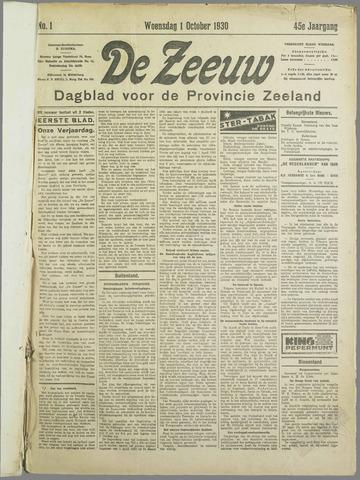 De Zeeuw. Christelijk-historisch nieuwsblad voor Zeeland 1930-10-01