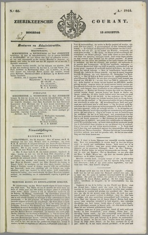 Zierikzeesche Courant 1844-08-13