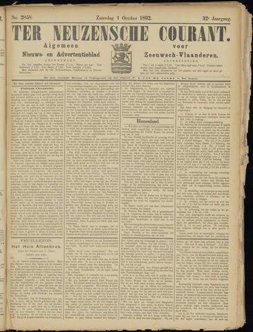 Ter Neuzensche Courant. Algemeen Nieuws- en Advertentieblad voor Zeeuwsch-Vlaanderen / Neuzensche Courant ... (idem) / (Algemeen) nieuws en advertentieblad voor Zeeuwsch-Vlaanderen 1892-10-01