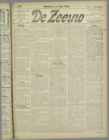 De Zeeuw. Christelijk-historisch nieuwsblad voor Zeeland 1921-07-11