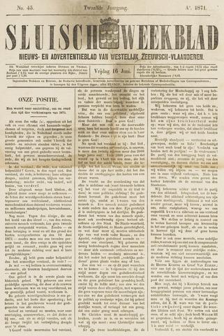 Sluisch Weekblad. Nieuws- en advertentieblad voor Westelijk Zeeuwsch-Vlaanderen 1871-06-16