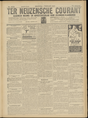 Ter Neuzensche Courant. Algemeen Nieuws- en Advertentieblad voor Zeeuwsch-Vlaanderen / Neuzensche Courant ... (idem) / (Algemeen) nieuws en advertentieblad voor Zeeuwsch-Vlaanderen 1937-02-01