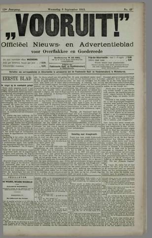 """""""Vooruit!""""Officieel Nieuws- en Advertentieblad voor Overflakkee en Goedereede 1915-09-08"""