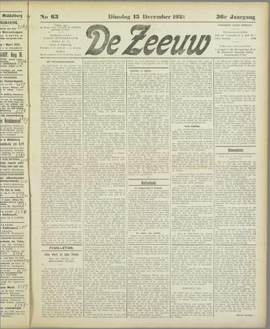De Zeeuw. Christelijk-historisch nieuwsblad voor Zeeland 1921-12-13