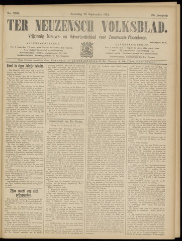 Ter Neuzensch Volksblad. Vrijzinnig nieuws- en advertentieblad voor Zeeuwsch- Vlaanderen / Zeeuwsch Nieuwsblad. Nieuws- en advertentieblad voor Zeeland 1912-09-28