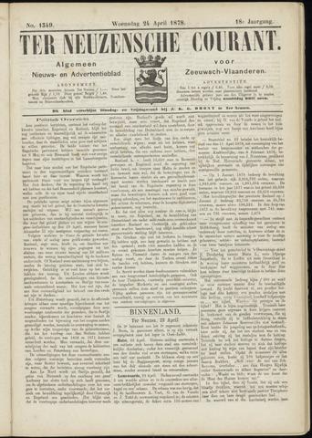 Ter Neuzensche Courant. Algemeen Nieuws- en Advertentieblad voor Zeeuwsch-Vlaanderen / Neuzensche Courant ... (idem) / (Algemeen) nieuws en advertentieblad voor Zeeuwsch-Vlaanderen 1878-04-24