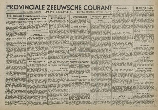 Provinciale Zeeuwse Courant 1944-08-15