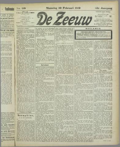 De Zeeuw. Christelijk-historisch nieuwsblad voor Zeeland 1919-02-10