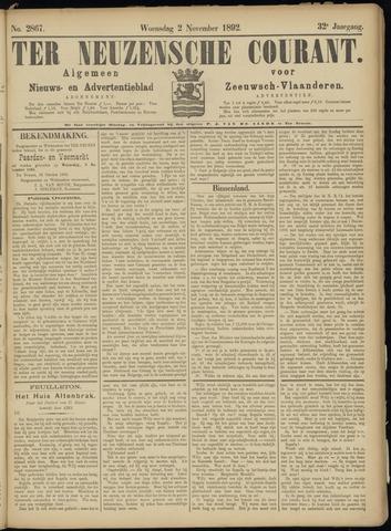 Ter Neuzensche Courant. Algemeen Nieuws- en Advertentieblad voor Zeeuwsch-Vlaanderen / Neuzensche Courant ... (idem) / (Algemeen) nieuws en advertentieblad voor Zeeuwsch-Vlaanderen 1892-11-02