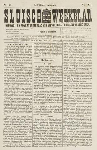 Sluisch Weekblad. Nieuws- en advertentieblad voor Westelijk Zeeuwsch-Vlaanderen 1877-12-07