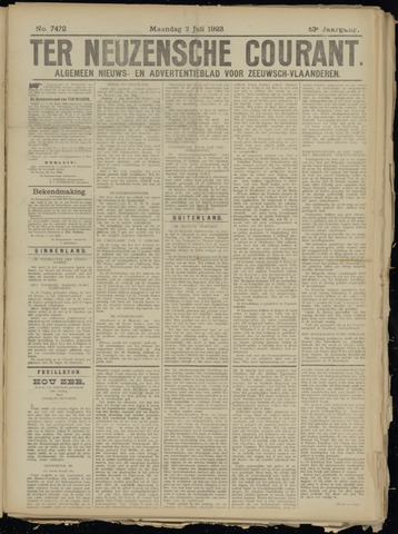 Ter Neuzensche Courant. Algemeen Nieuws- en Advertentieblad voor Zeeuwsch-Vlaanderen / Neuzensche Courant ... (idem) / (Algemeen) nieuws en advertentieblad voor Zeeuwsch-Vlaanderen 1923-07-02