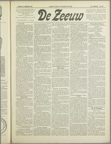 De Zeeuw. Christelijk-historisch nieuwsblad voor Zeeland 1934-08-24