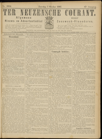Ter Neuzensche Courant. Algemeen Nieuws- en Advertentieblad voor Zeeuwsch-Vlaanderen / Neuzensche Courant ... (idem) / (Algemeen) nieuws en advertentieblad voor Zeeuwsch-Vlaanderen 1907-10-05