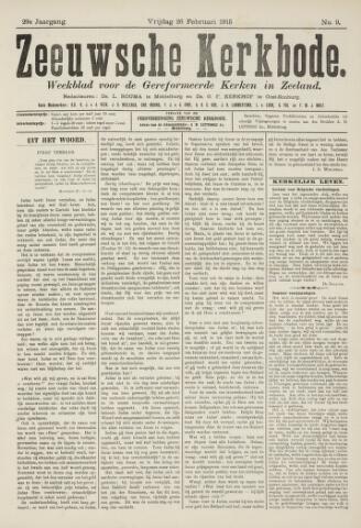 Zeeuwsche kerkbode, weekblad gewijd aan de belangen der gereformeerde kerken/ Zeeuwsch kerkblad 1915-02-26