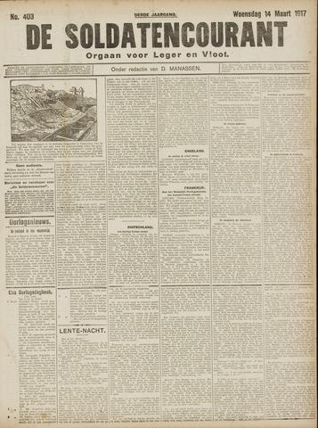 De Soldatencourant. Orgaan voor Leger en Vloot 1917-03-14