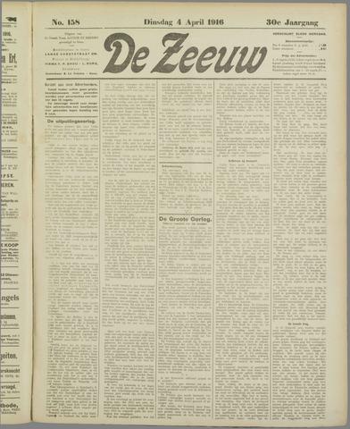 De Zeeuw. Christelijk-historisch nieuwsblad voor Zeeland 1916-04-04
