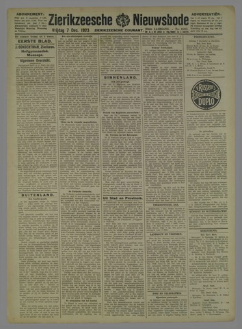Zierikzeesche Nieuwsbode 1923-12-07