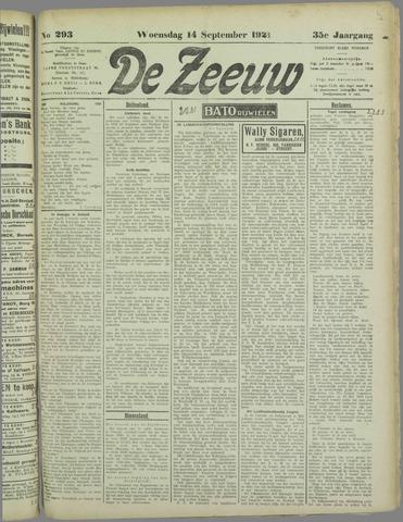 De Zeeuw. Christelijk-historisch nieuwsblad voor Zeeland 1921-09-14