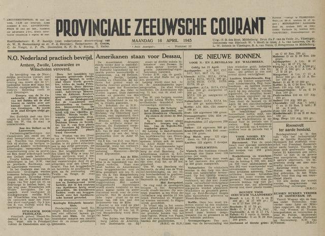 Provinciale Zeeuwse Courant 1945-04-16