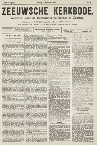 Zeeuwsche kerkbode, weekblad gewijd aan de belangen der gereformeerde kerken/ Zeeuwsch kerkblad 1926-02-12