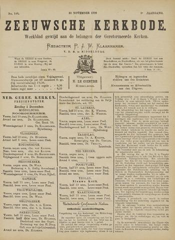 Zeeuwsche kerkbode, weekblad gewijd aan de belangen der gereformeerde kerken/ Zeeuwsch kerkblad 1889-11-30