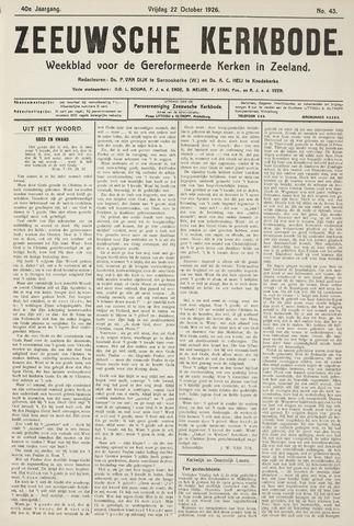 Zeeuwsche kerkbode, weekblad gewijd aan de belangen der gereformeerde kerken/ Zeeuwsch kerkblad 1926-10-22