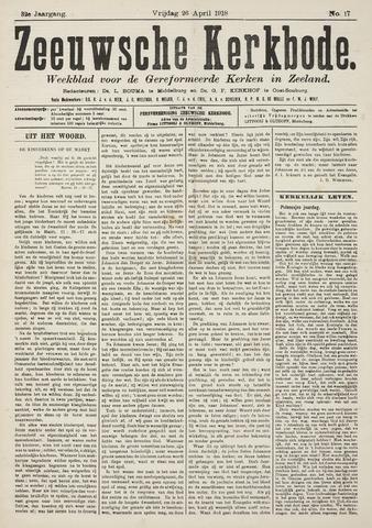 Zeeuwsche kerkbode, weekblad gewijd aan de belangen der gereformeerde kerken/ Zeeuwsch kerkblad 1918-04-26