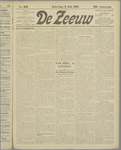De Zeeuw. Christelijk-historisch nieuwsblad voor Zeeland 1915-07-03