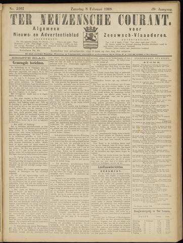 Ter Neuzensche Courant. Algemeen Nieuws- en Advertentieblad voor Zeeuwsch-Vlaanderen / Neuzensche Courant ... (idem) / (Algemeen) nieuws en advertentieblad voor Zeeuwsch-Vlaanderen 1908-02-08