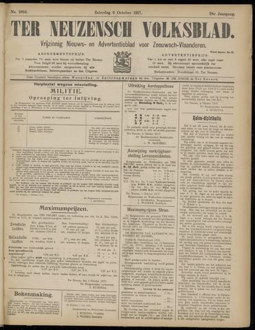 Ter Neuzensch Volksblad. Vrijzinnig nieuws- en advertentieblad voor Zeeuwsch- Vlaanderen / Zeeuwsch Nieuwsblad. Nieuws- en advertentieblad voor Zeeland 1917-10-06