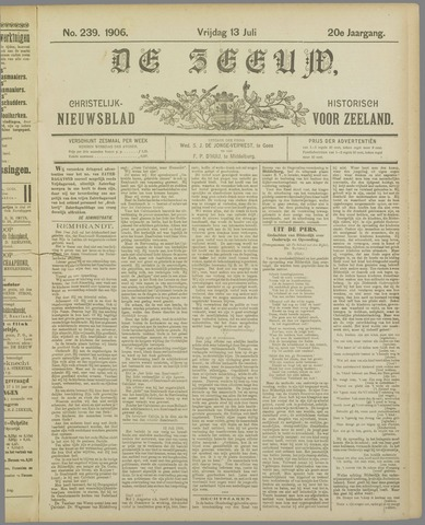 De Zeeuw. Christelijk-historisch nieuwsblad voor Zeeland 1906-07-13