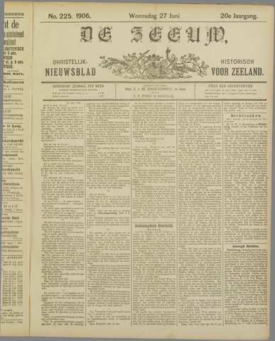 De Zeeuw. Christelijk-historisch nieuwsblad voor Zeeland 1906-06-27