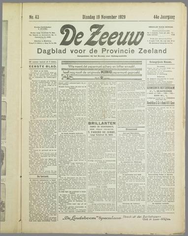 De Zeeuw. Christelijk-historisch nieuwsblad voor Zeeland 1929-11-19