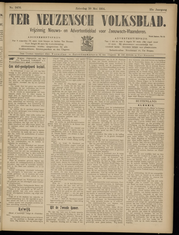 Ter Neuzensch Volksblad. Vrijzinnig nieuws- en advertentieblad voor Zeeuwsch- Vlaanderen / Zeeuwsch Nieuwsblad. Nieuws- en advertentieblad voor Zeeland 1914-05-30