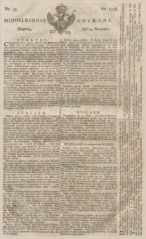 Middelburgsche Courant 1758-11-14