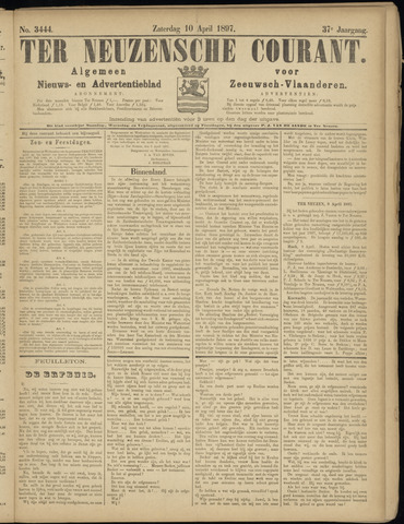 Ter Neuzensche Courant. Algemeen Nieuws- en Advertentieblad voor Zeeuwsch-Vlaanderen / Neuzensche Courant ... (idem) / (Algemeen) nieuws en advertentieblad voor Zeeuwsch-Vlaanderen 1897-04-10