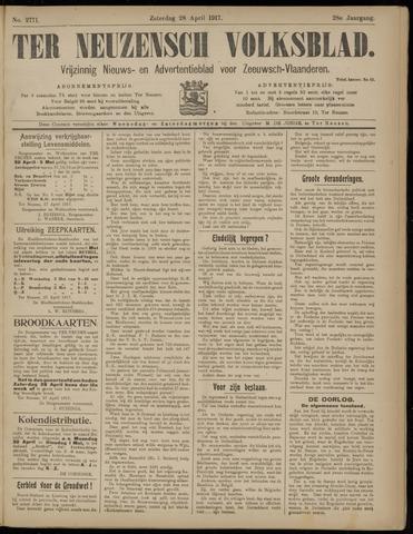 Ter Neuzensch Volksblad. Vrijzinnig nieuws- en advertentieblad voor Zeeuwsch- Vlaanderen / Zeeuwsch Nieuwsblad. Nieuws- en advertentieblad voor Zeeland 1917-04-28