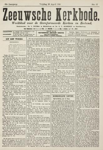 Zeeuwsche kerkbode, weekblad gewijd aan de belangen der gereformeerde kerken/ Zeeuwsch kerkblad 1921-04-29