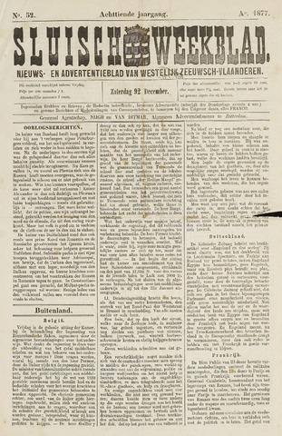 Sluisch Weekblad. Nieuws- en advertentieblad voor Westelijk Zeeuwsch-Vlaanderen 1877-12-29