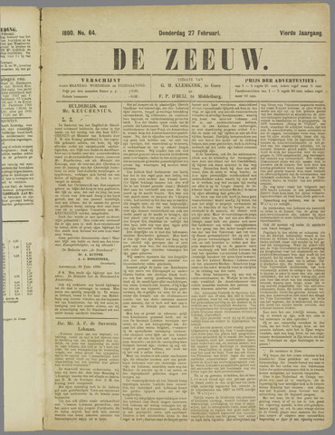 De Zeeuw. Christelijk-historisch nieuwsblad voor Zeeland 1890-02-27